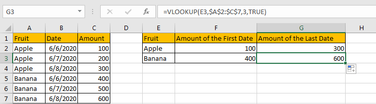 Use VLOOKUP to Find The First or Last 8