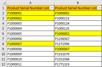 Compare Two Columns and Highlight Duplicate Values 13