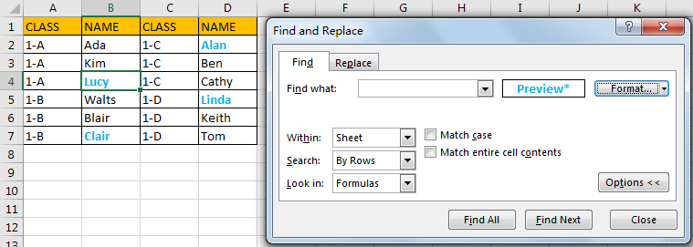 Select All Cells Whose Are in The Same Format 6