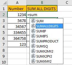 Sum All Digits in A Cell 5