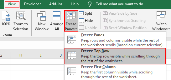 How to Lock or Freeze Row or Column in Excel2