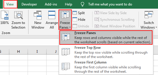 How to Lock or Freeze Row or Column in Excel5