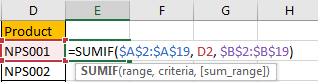 How to Sum Values Based on Criteria List in Another Column in Excel6