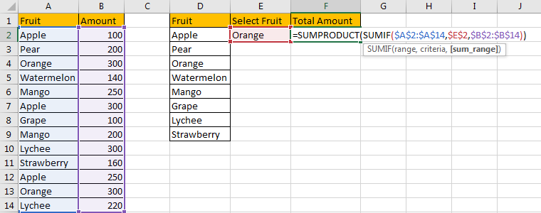 How to Sum Values Based on Selection of Drop-Down List 12