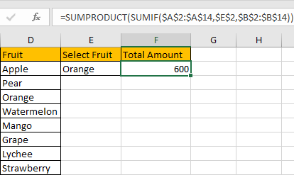 How to Sum Values Based on Selection of Drop-Down List 13