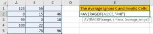 How to Calculate Average Ignore Blank and Zero Cells in Excel2