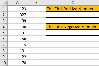 How to Find the First or Last Positive or Negative Number in a Column1