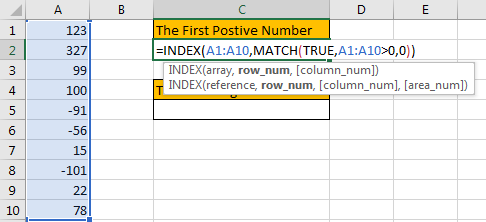 How to Find the First or Last Positive or Negative Number in a Column2