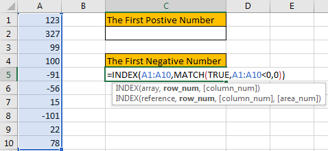How to Find the First or Last Positive or Negative Number in a Column4