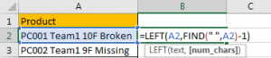 How to Split Cells by the First Space in Texts in Excel3