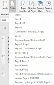 How to add header or footer on pages 12