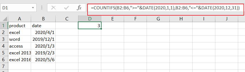 count cells between dates formula1