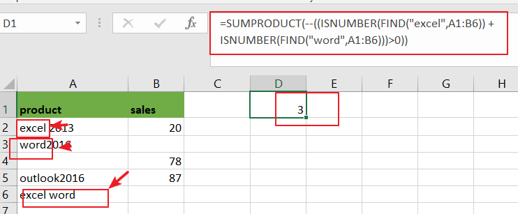 count cell that contain x or y1