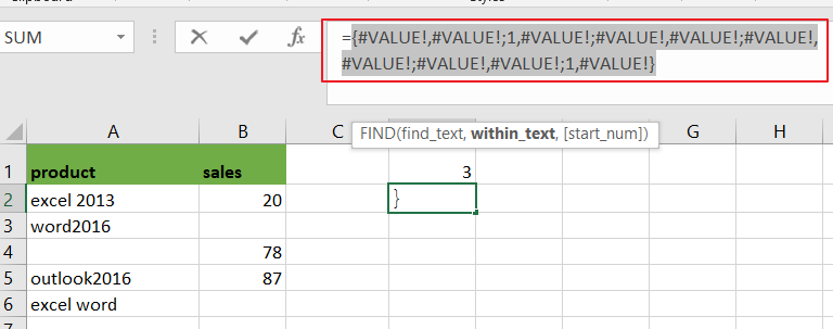 count cell that contain x or y3