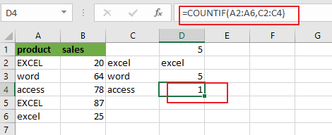 count cells equal to many values3