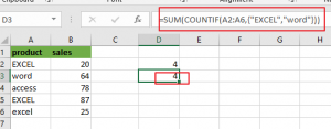 count cells equals to x or y2