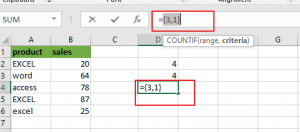count cells equals to x or y4
