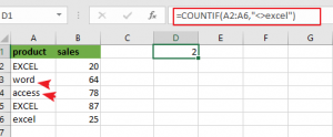 count cells not equal to value1