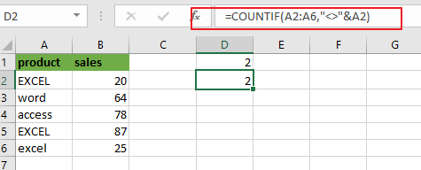 count cells not equal to value2