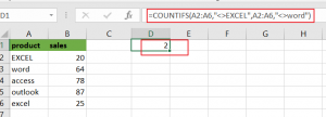 count cells not equals to x or y1