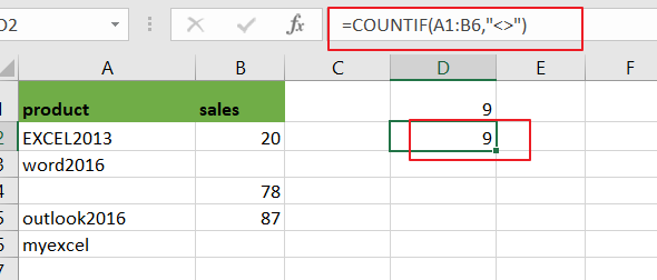 count non blank nonempty cells2