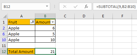 How to Only Sum Visible CellsRows in a Filtered List4