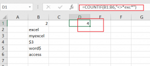 count cells do not contain text1