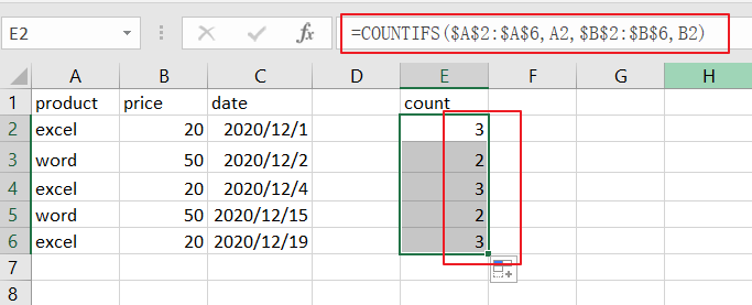 count specific items in list1