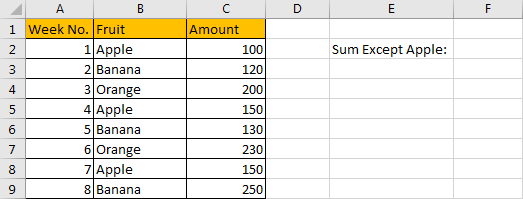 How to Sum Numbers by Formula if Cells Are Not Equal to Certain Value 1
