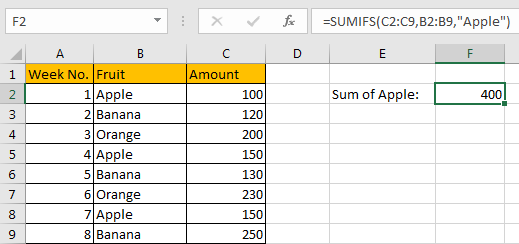 How to Sum Numbers by Formula if Cells Equal to A Certain Value 11