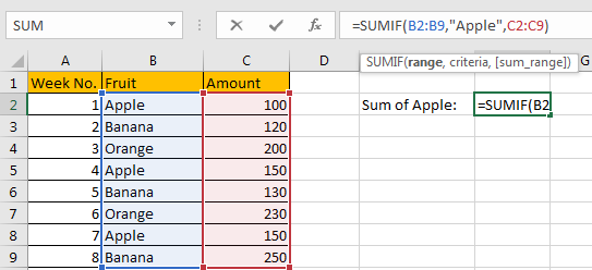 How to Sum Numbers by Formula if Cells Equal to A Certain Value 12