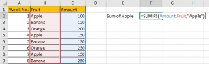 How to Sum Numbers by Formula if Cells Equal to A Certain Value 4