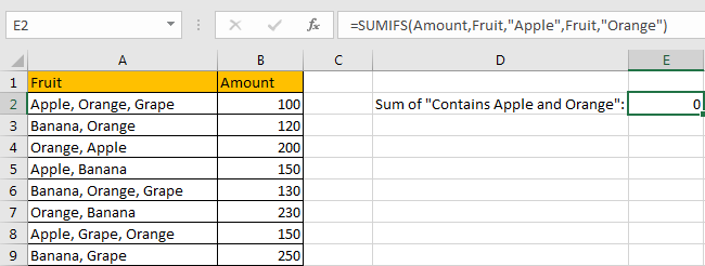 How to Sum by Formula if Cell Contains Both A and B in Excel 13