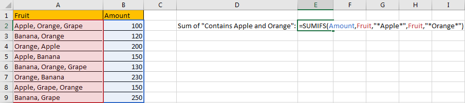 How to Sum by Formula if Cell Contains Both A and B in Excel 4