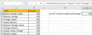 How to Sum by Formula if Cell Contains Both A and B in Excel 5