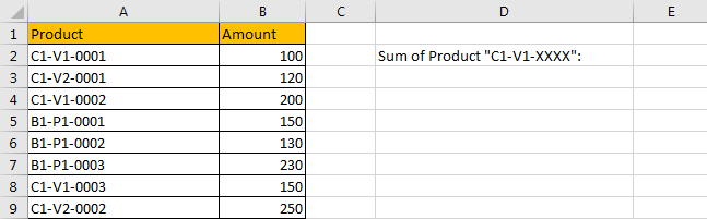 How to Sum by Formula if Cell Contains Special Character 1