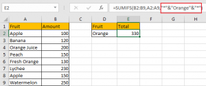 Sum if Cell Contains Text in Another Column 12