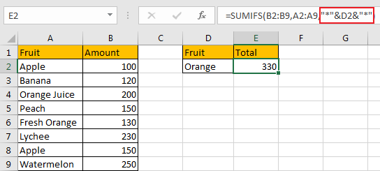 Sum if Cell Contains Text in Another Column 13