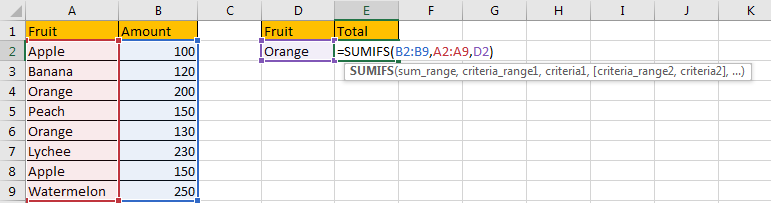 Sum if Cell Contains Text in Another Column 2