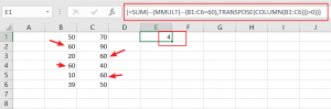 count row that contain specific value1