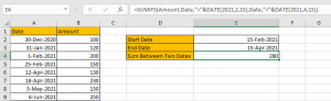 How to Sum by Formula if Cell Between Two Dates 16