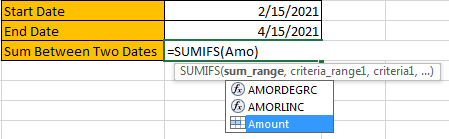How to Sum by Formula if Cell Between Two Dates 5