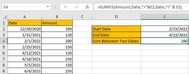 How to Sum by Formula if Cell Between Two Dates 6