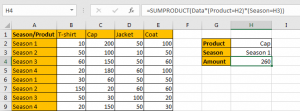 How to Sum by SUMPRDUCT with Specific Criteria in Excel 7