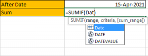 How to Sum if Date is Greater Than A Date in Excel 5