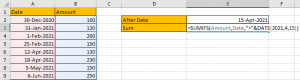 How to Sum if Date is Greater Than A Date in Excel 7
