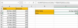 How to Sum if Date is Greater Than A Date in Excel 8