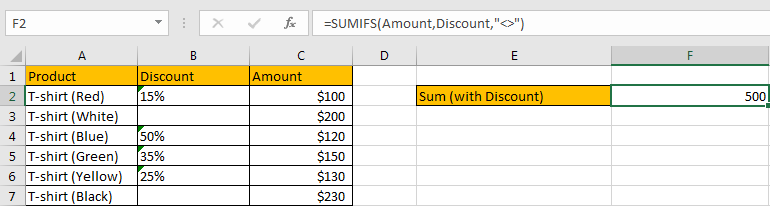 How to Sum by Formula If Cells Are Not Blank in Criteria12