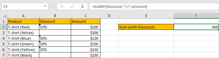 How to Sum by Formula If Cells Are Not Blank in Criteria13