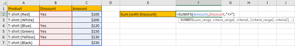 How to Sum by Formula If Cells Are Not Blank in Criteria4